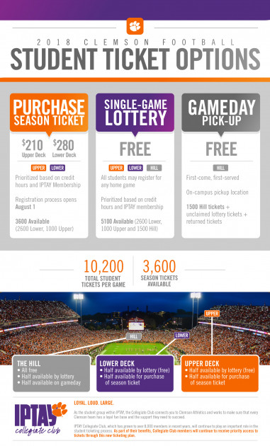 Free Tickets Available For Students To >> 2018 Student Tickets Clemson Tigers Official Athletics Site