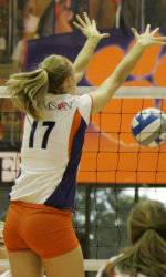 Tiger Volleyball Falls to Tar Heels on Saturday Night in Four Sets