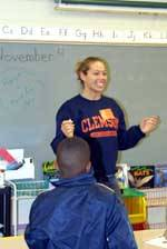Clemson Volleyball Helps Out at Clemson Elementary