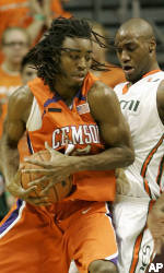 Clemson Edged by Miami On Road, 75-72