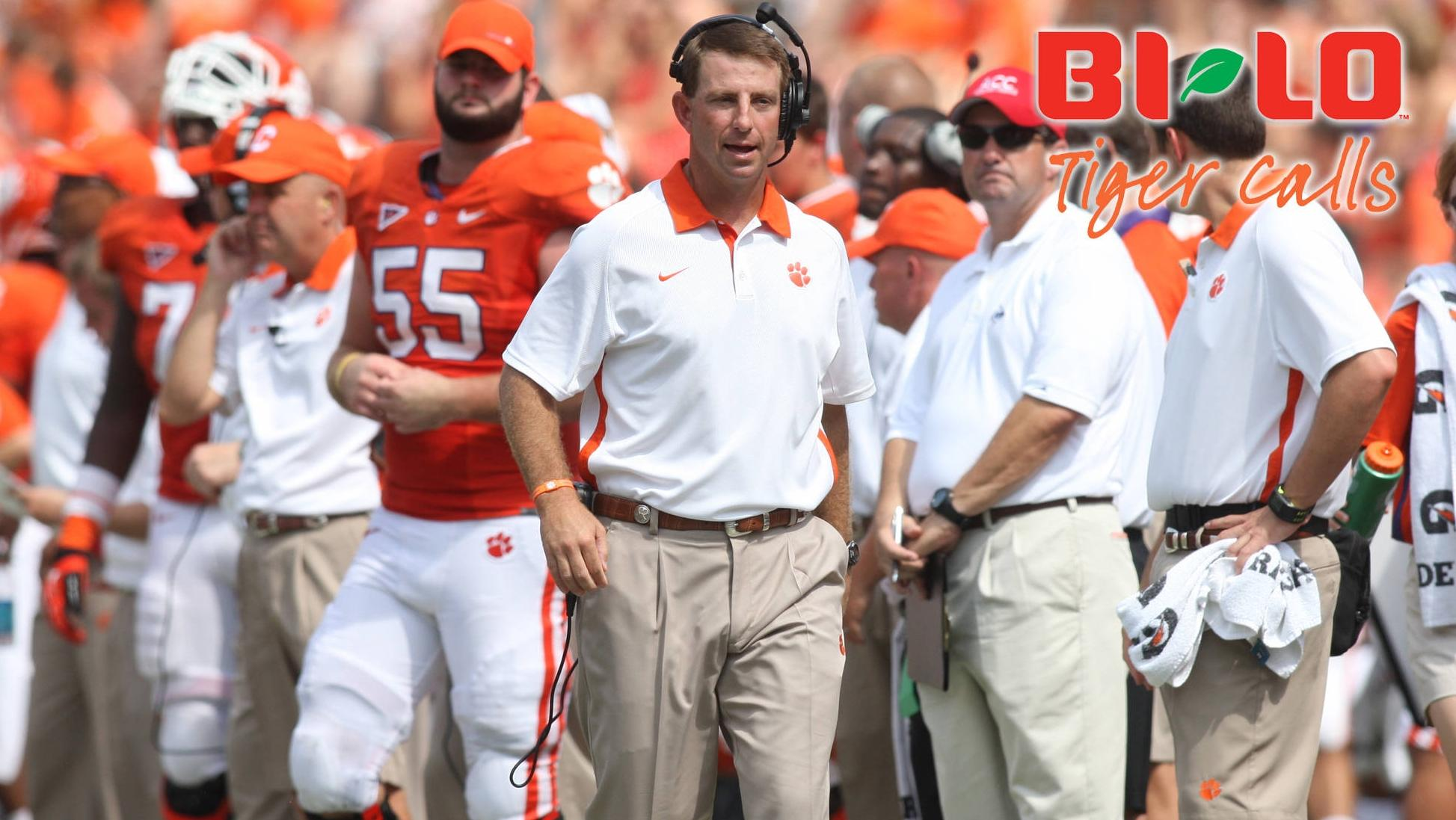 Tiger Calls with Dabo Swinney to be Held at BI-LO in Powdersville Monday Night, Available on CTSN and Sirius XM Radio