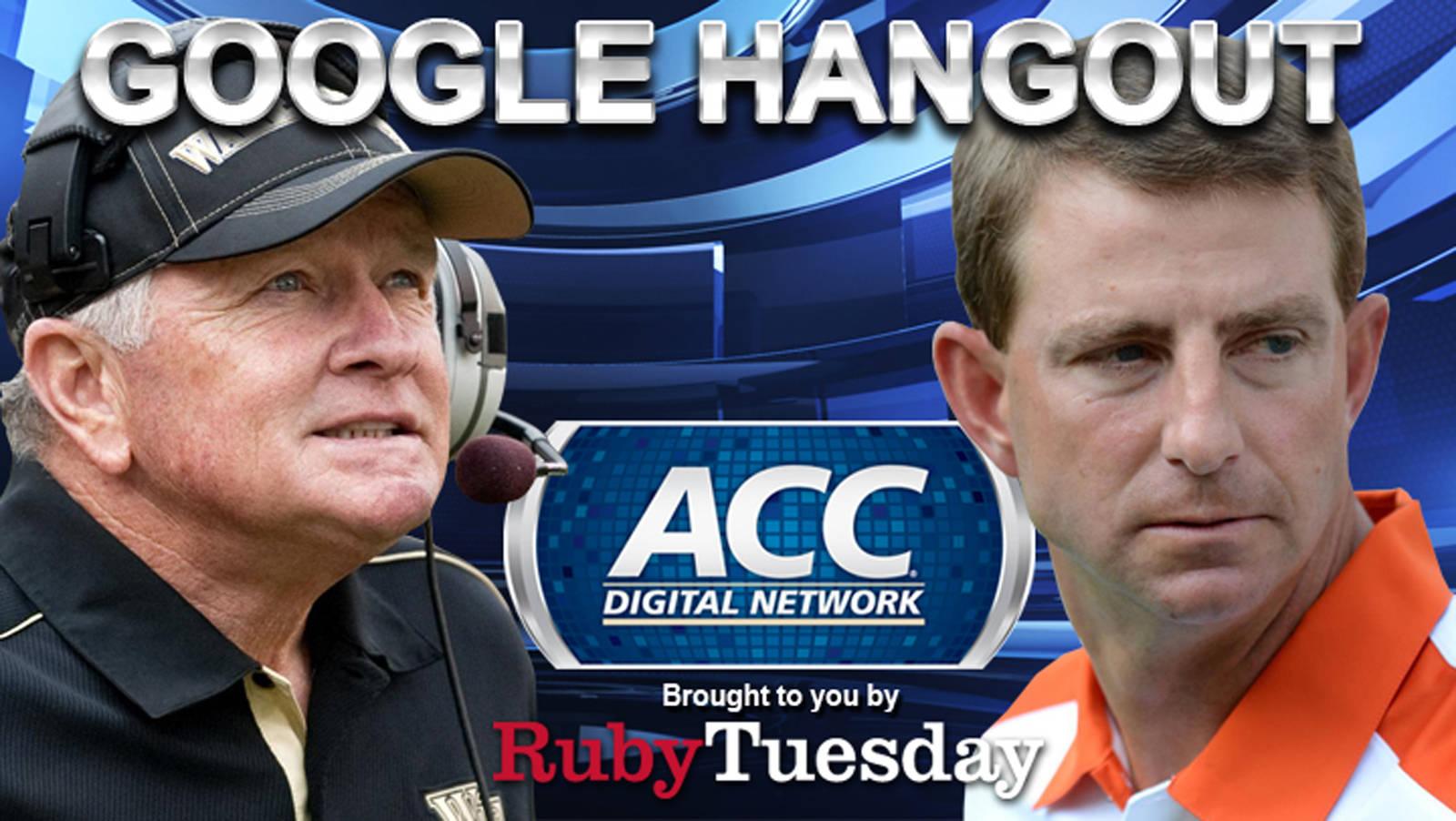 ACC Digital Network to Host Google Hangout with Dabo Swinney