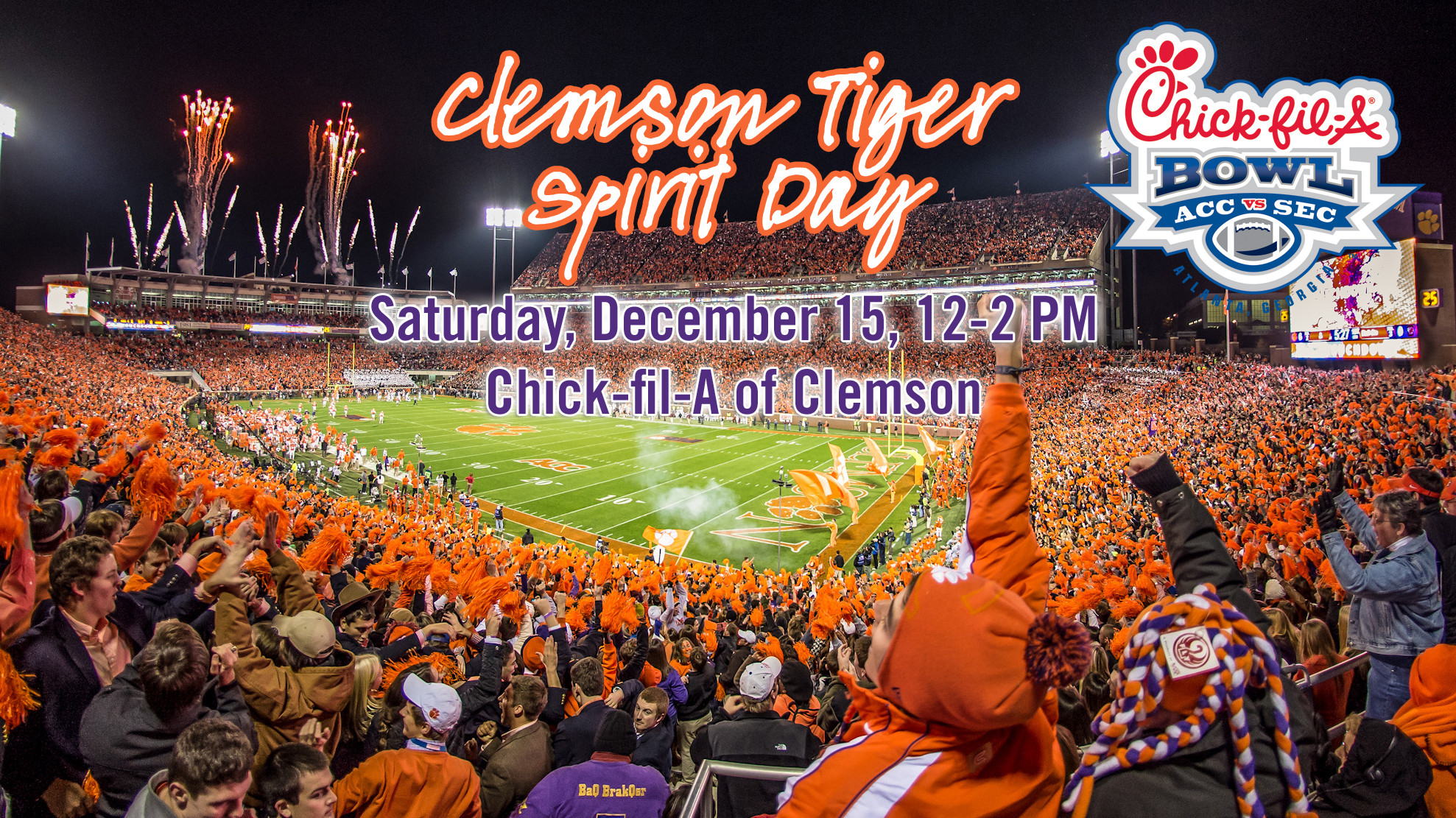 Clemson Tiger Spirit Day to be Held Sat., Dec. 15 at Chick-fil-A in Clemson