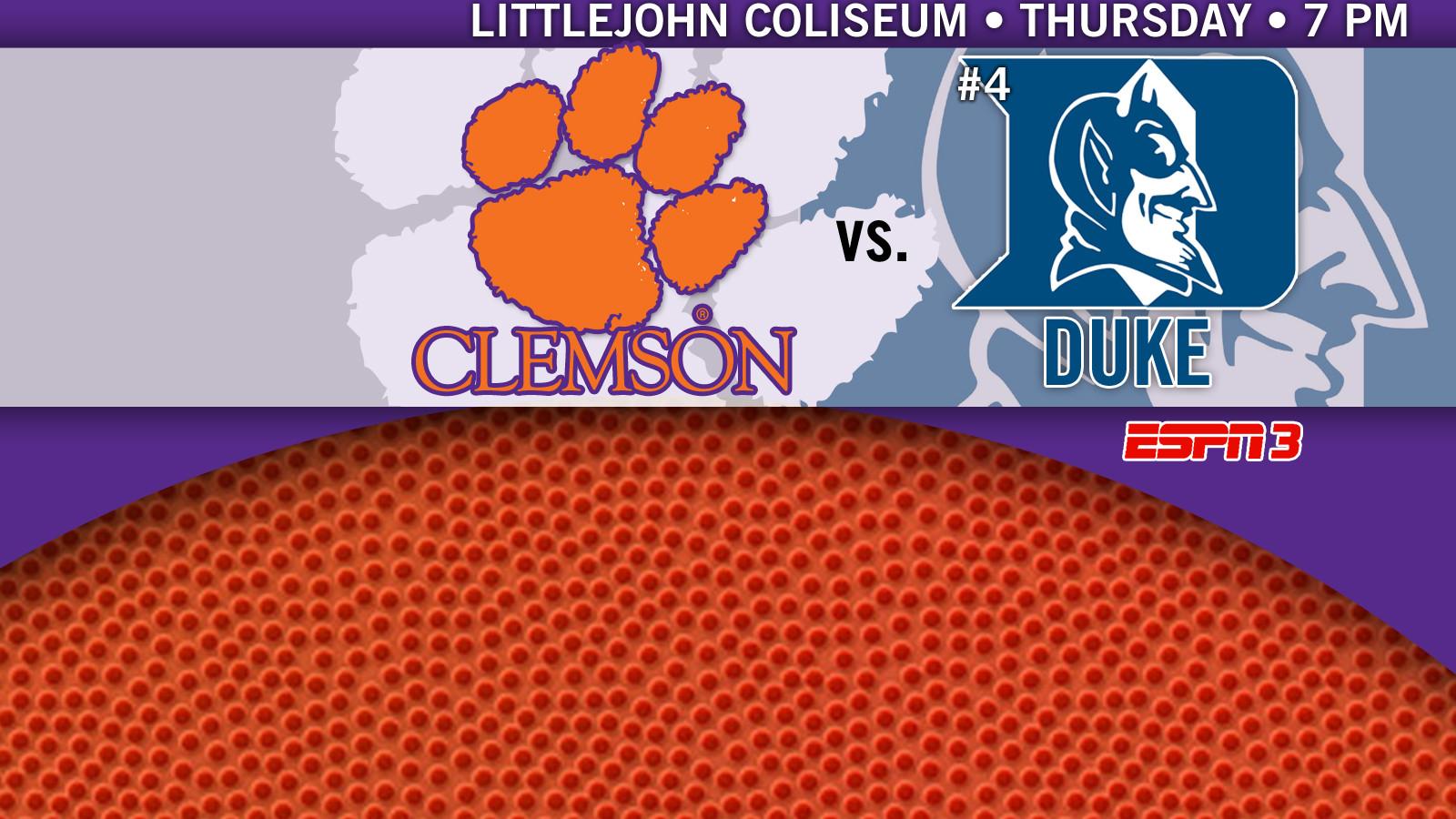 Clemson Plays Host to No. 4 Duke Thursday