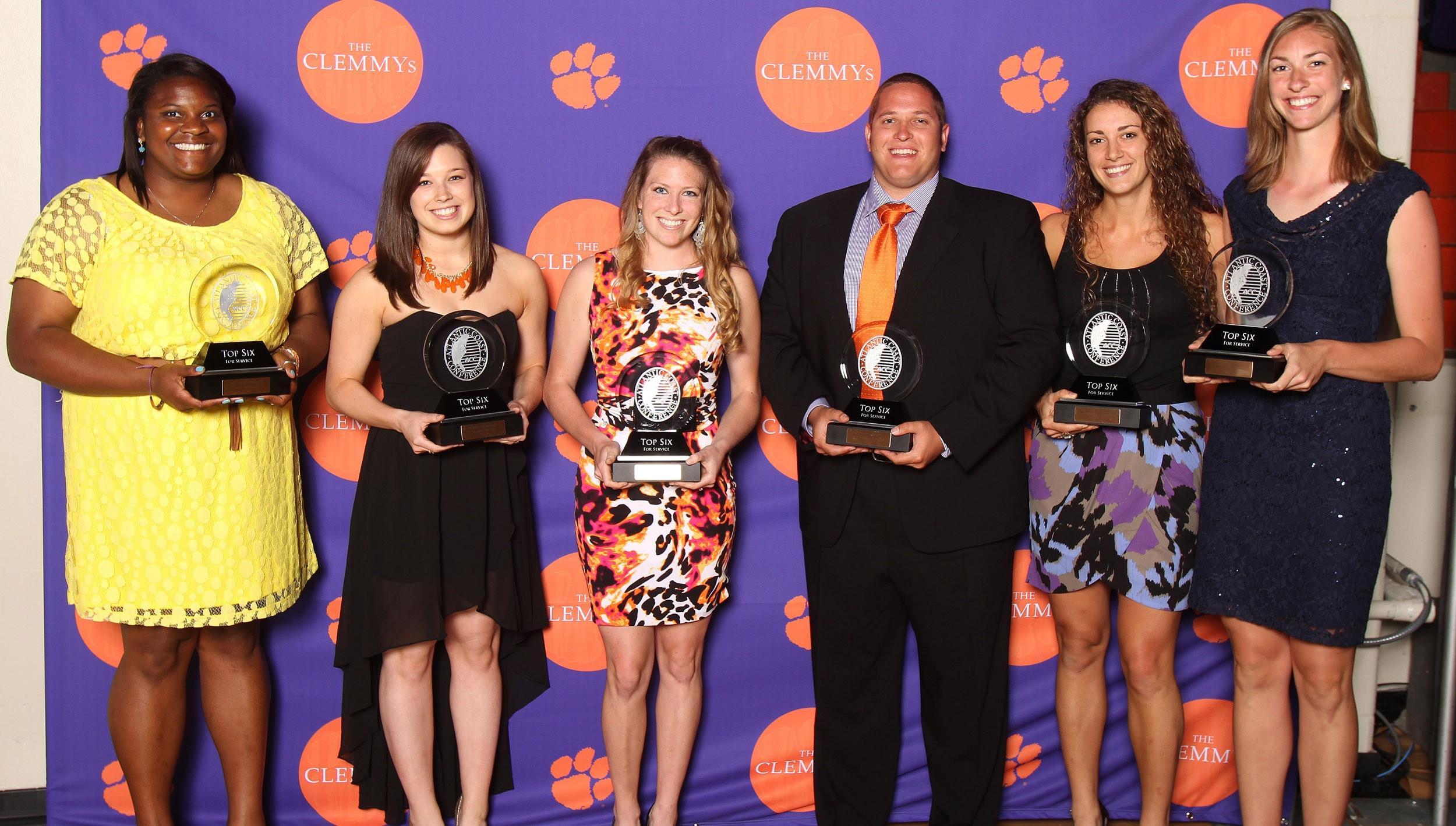 Clemson's 2012-13 ACC Top Six Award for Service Winners