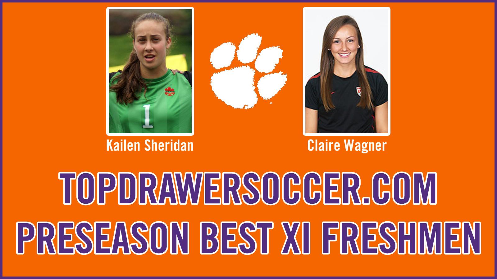 Sheridan and Wagner Named to TopDrawerSoccer.com's Preseason Best XI Freshmen Team