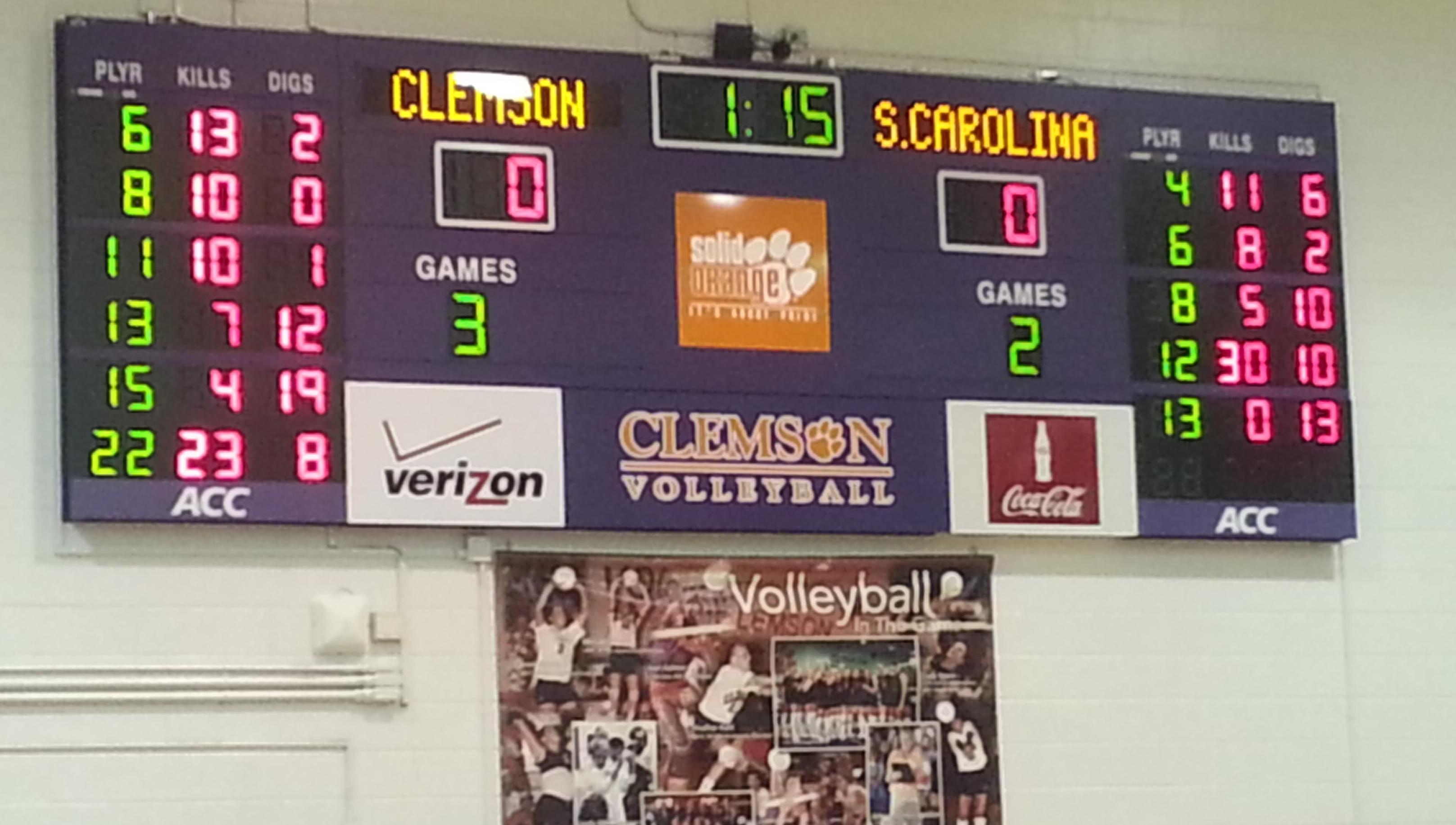 Clemson Tops South Carolina in Thrilling Five-Setter