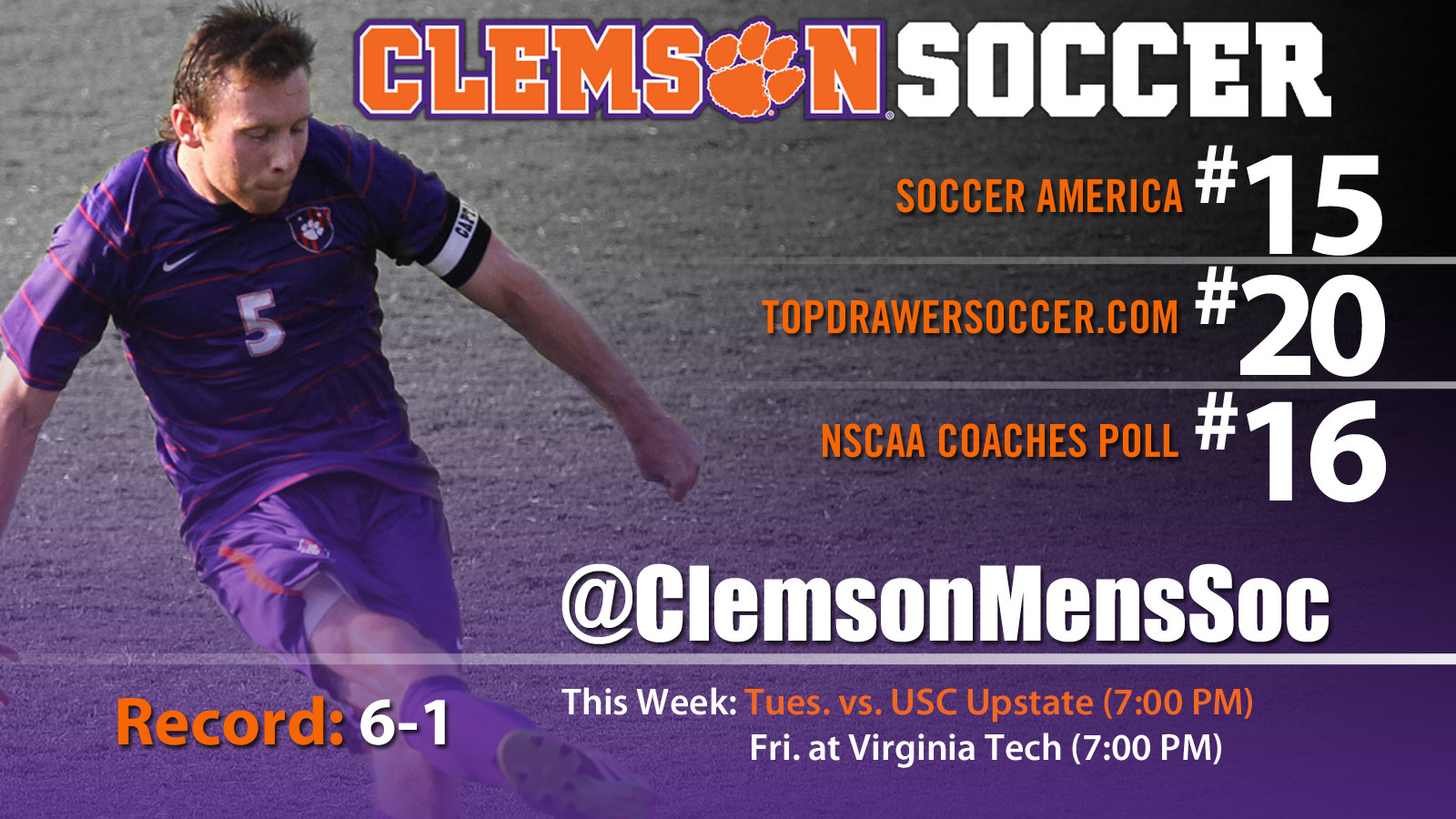 Clemson is Ranked 15th Nationally in Men?s Soccer