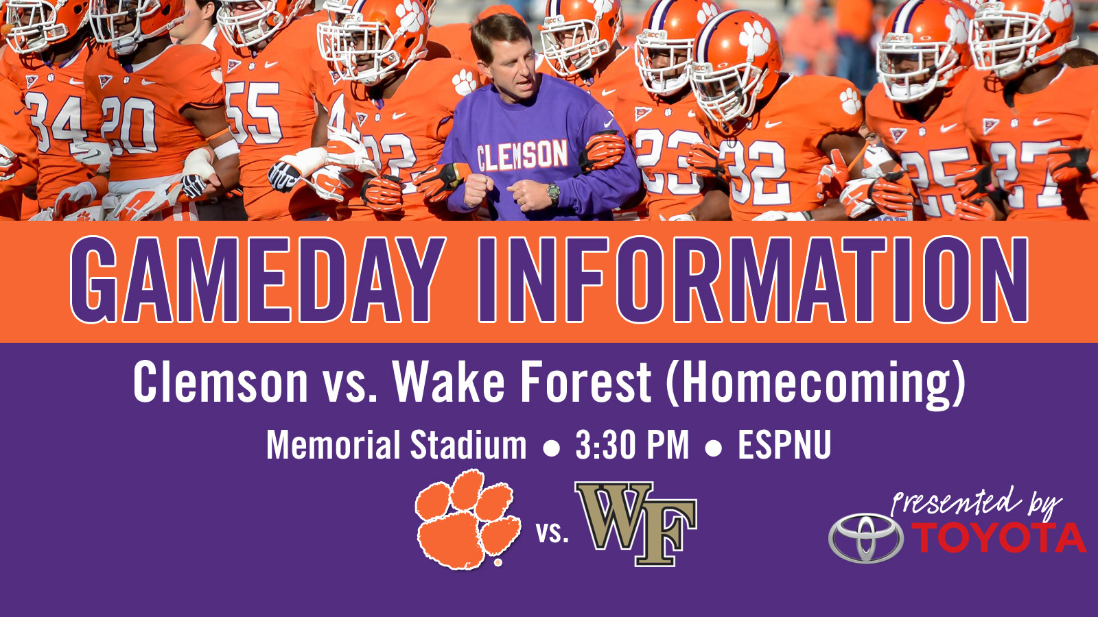 Clemson vs. Wake Forest Football Gameday Information Guide