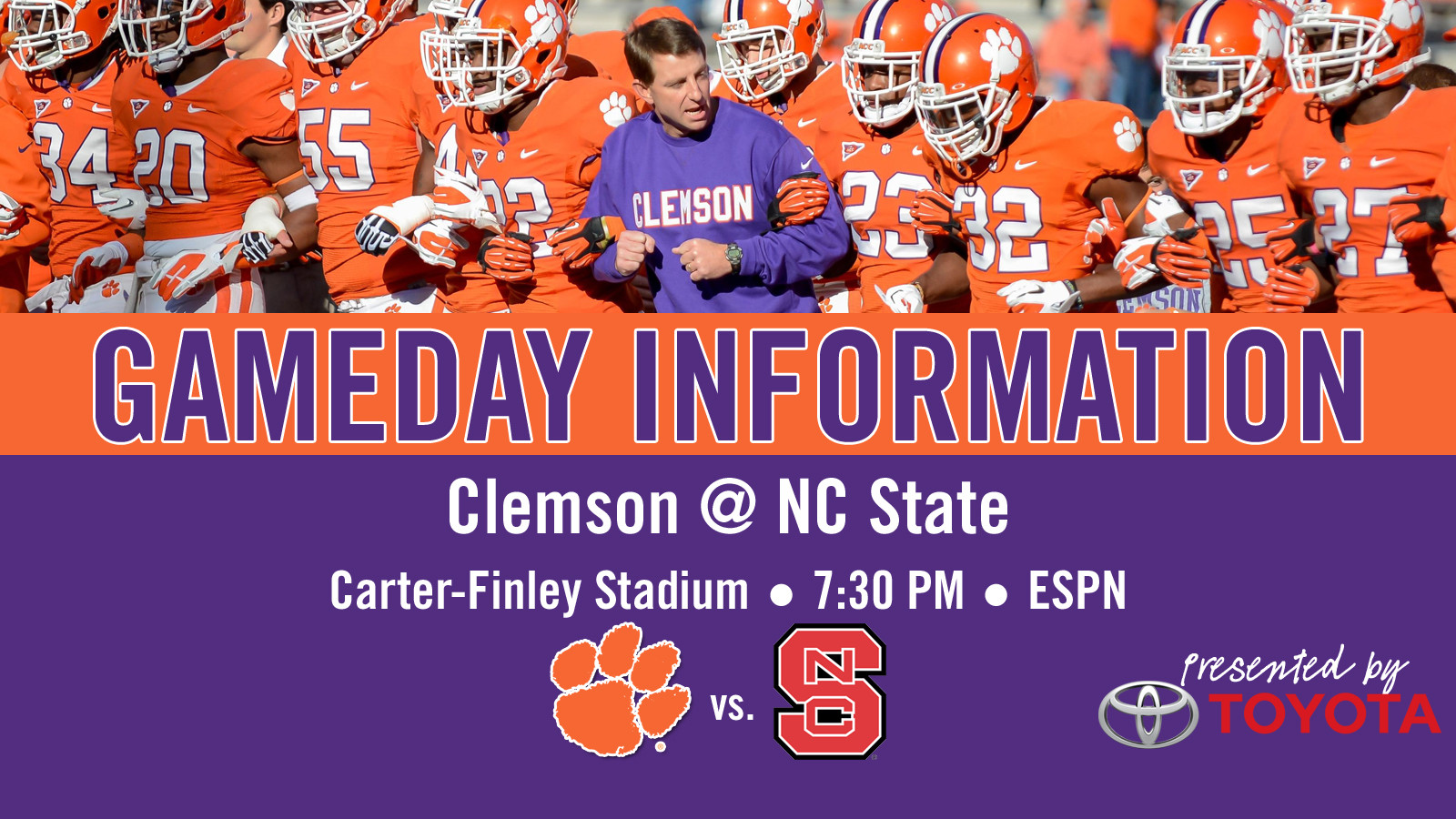 Clemson @ NC State Football Gameday Information