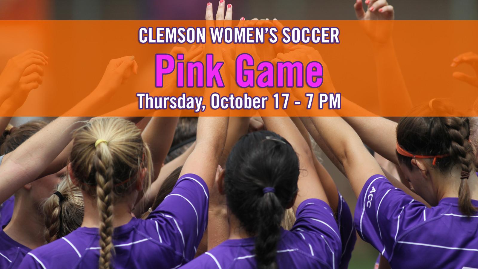 Clemson Women's Soccer Team to Host Pink Game October 17