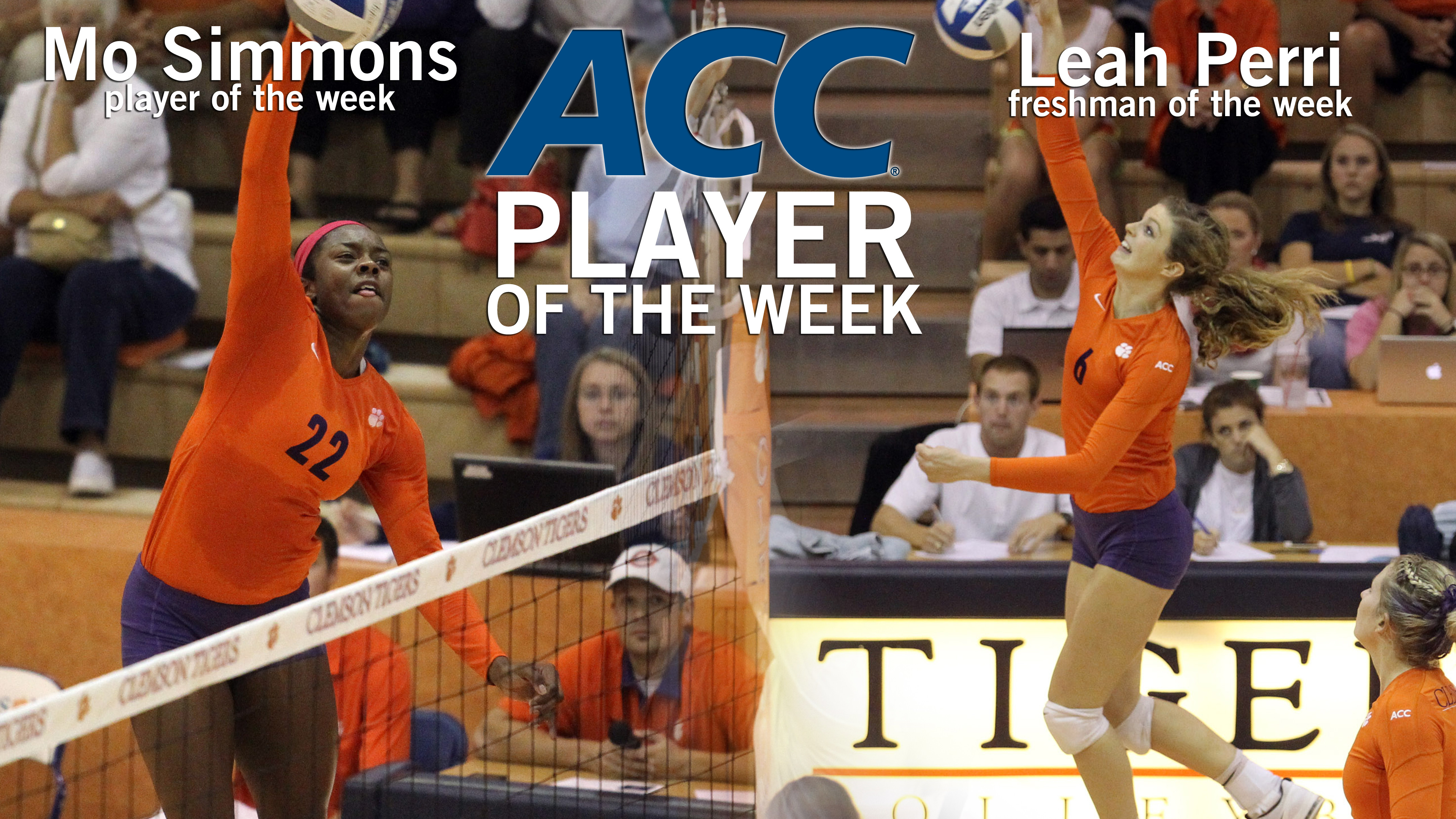 Simmons, Perri Sweep ACC Volleyball Weekly Honors