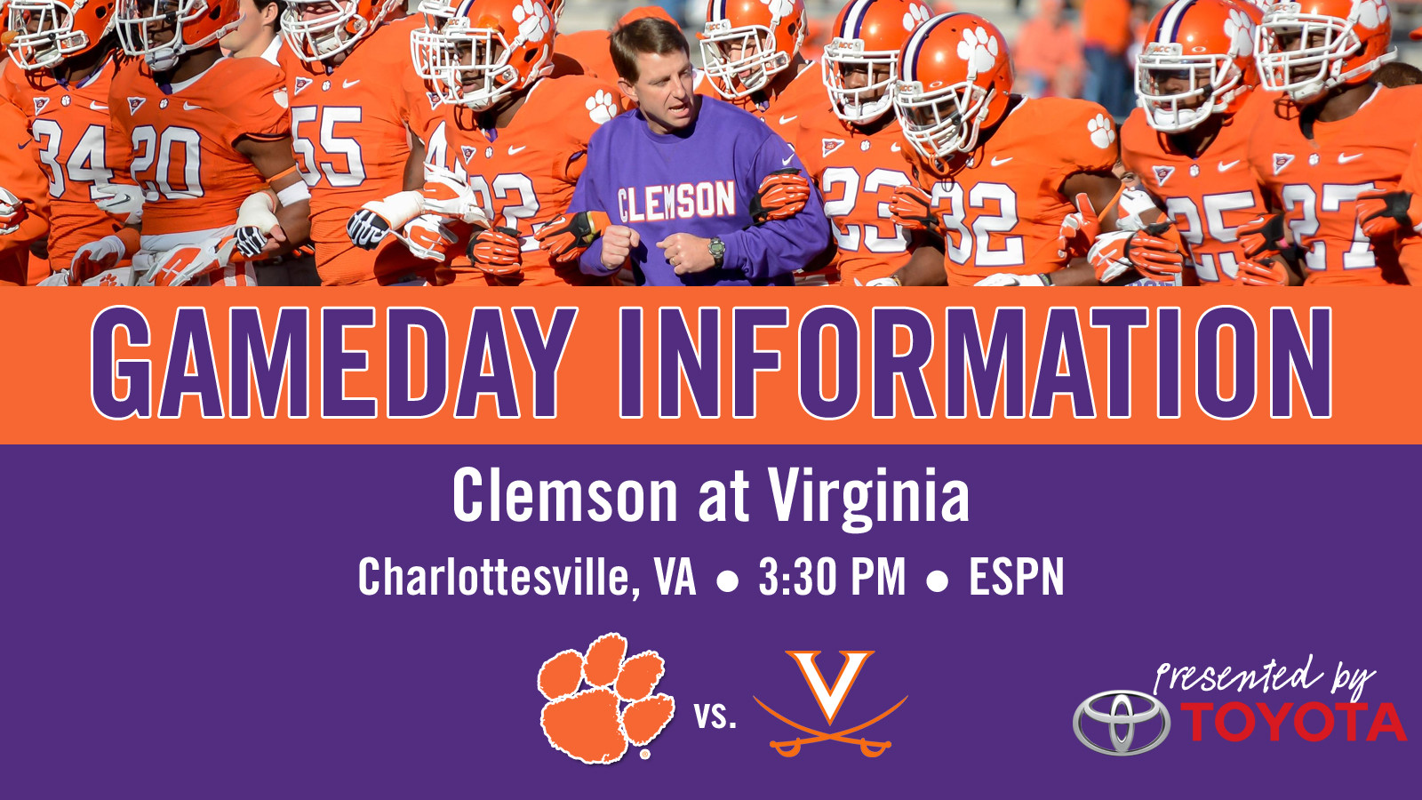 Clemson @ Virginia Football Gameday Information