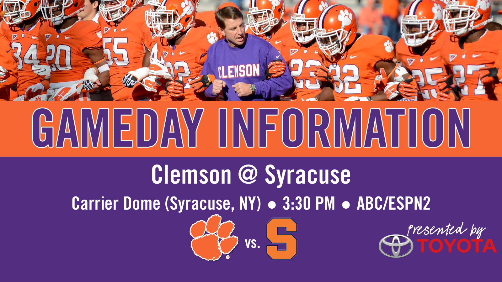 Clemson @ Syracuse Football Gameday Information