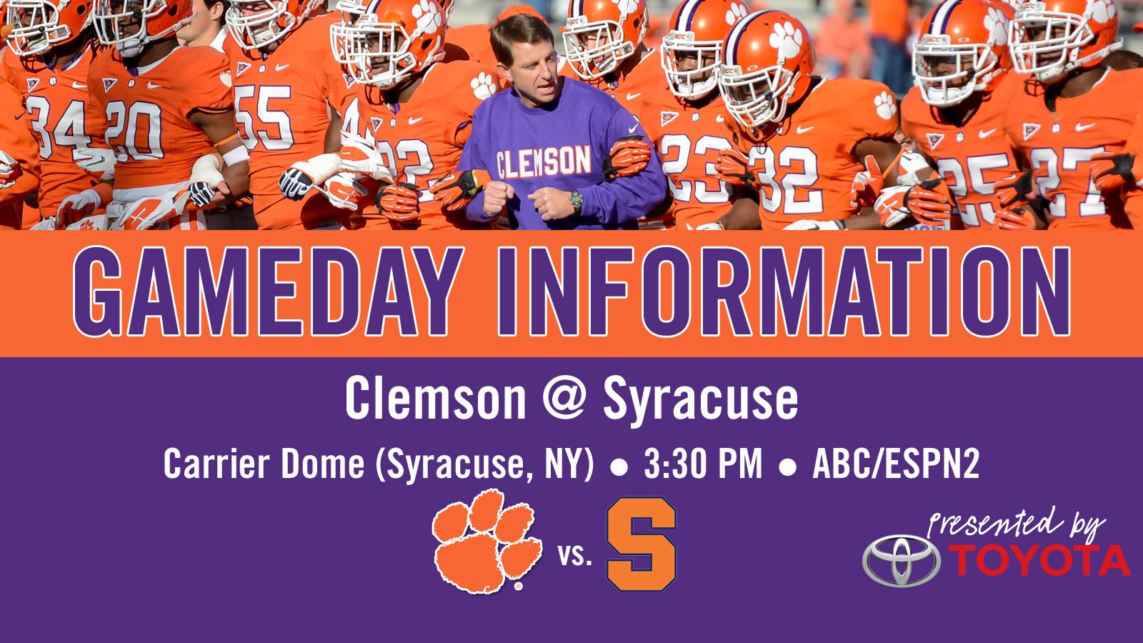 Clemson @ Syracuse Football Gameday Information