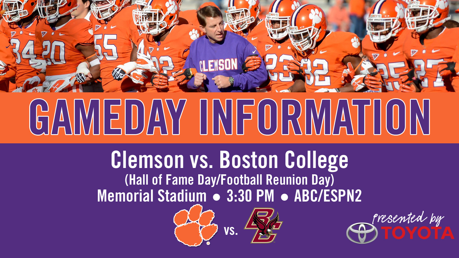 Clemson vs. Boston College Football Gameday Information Guide