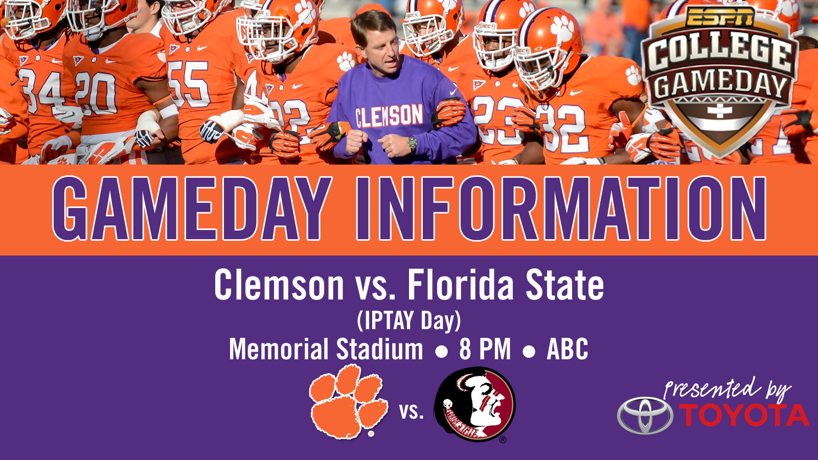 Clemson vs. Florida State Football Gameday Information Guide