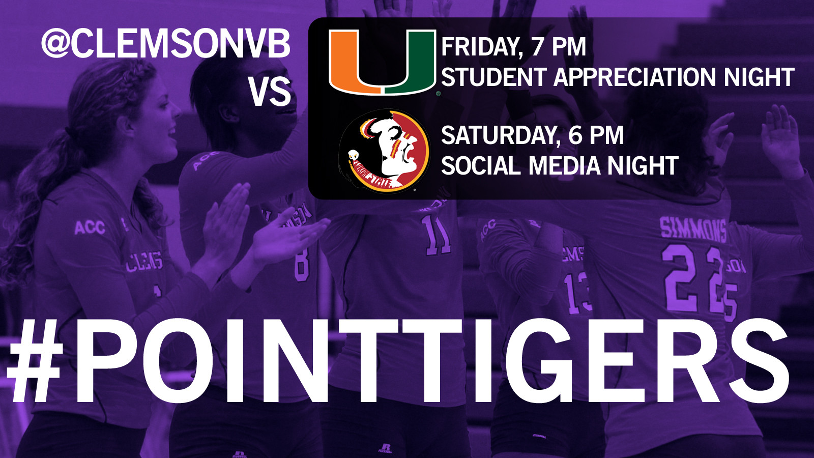 Volleyball (@ClemsonVB) Plays Host to Miami, #18 FSU