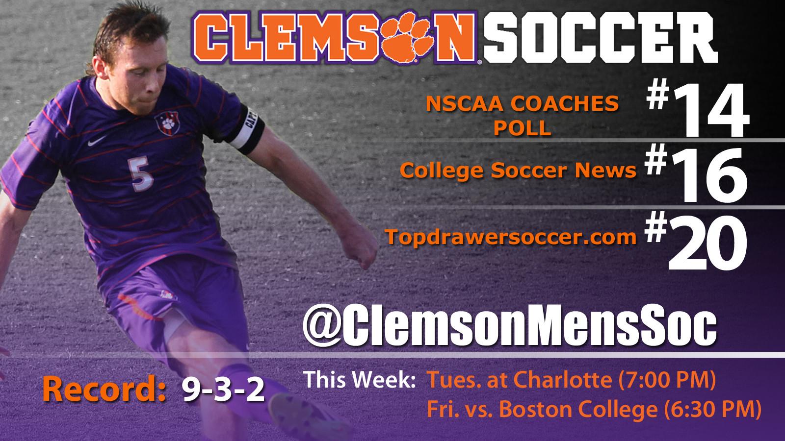 Clemson Men?s Soccer Ranked in Nation?s Top 25