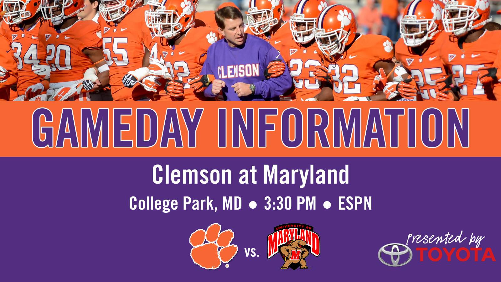 Clemson @ Maryland Football Gameday Information