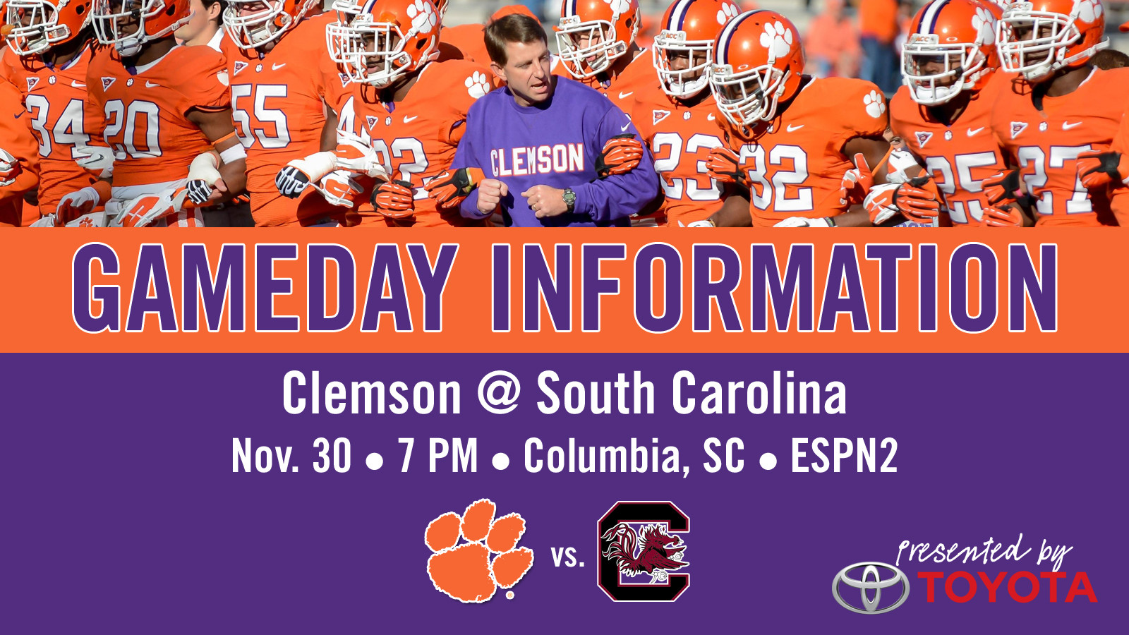 Clemson @ South Carolina Football Gameday Information