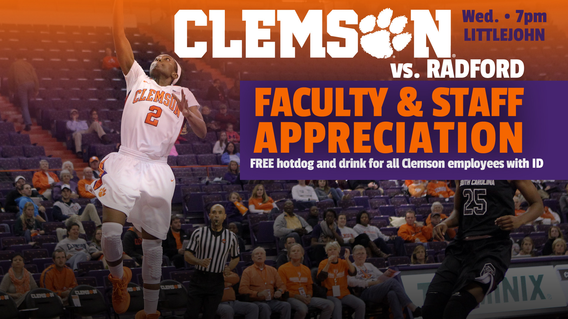 @ClemsonWBB To Hold Staff & Faculty Appreciation Wednesday