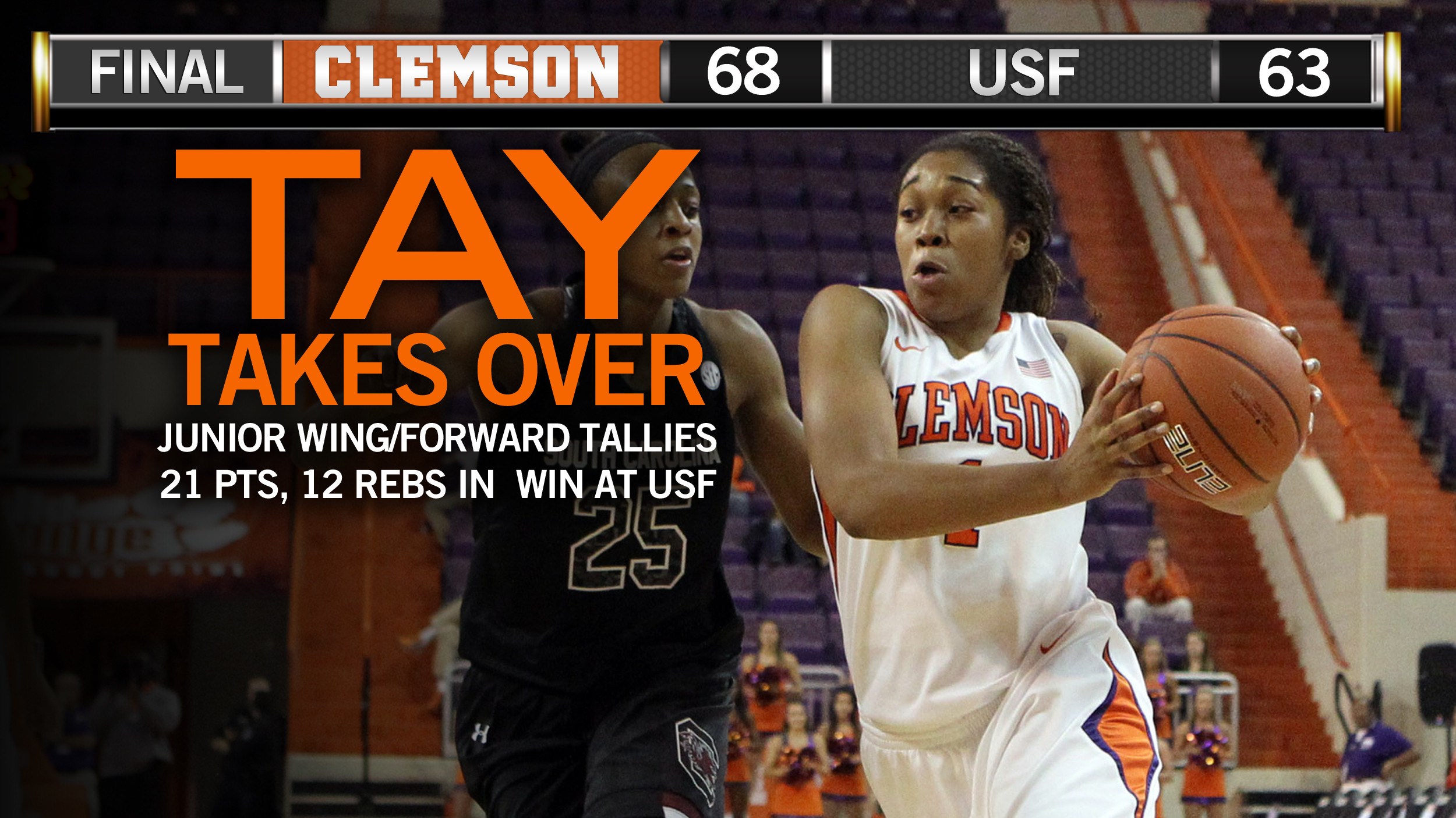 @ClemsonWBB Holds On For 68-63 Win at USF