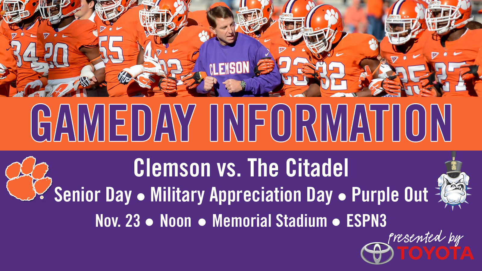 Clemson vs. The Citadel Football Gameday Information Guide