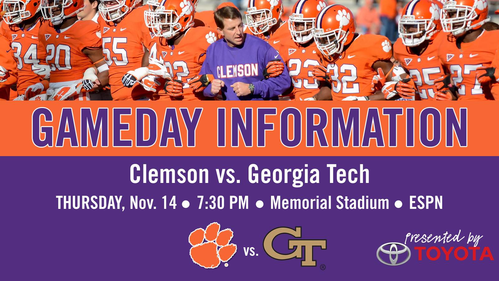 Clemson vs. Georgia Tech Football Gameday Information Guide