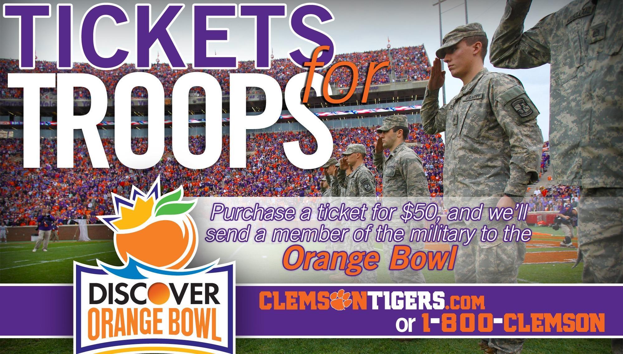 Clemson Announces Tickets for Troops Program