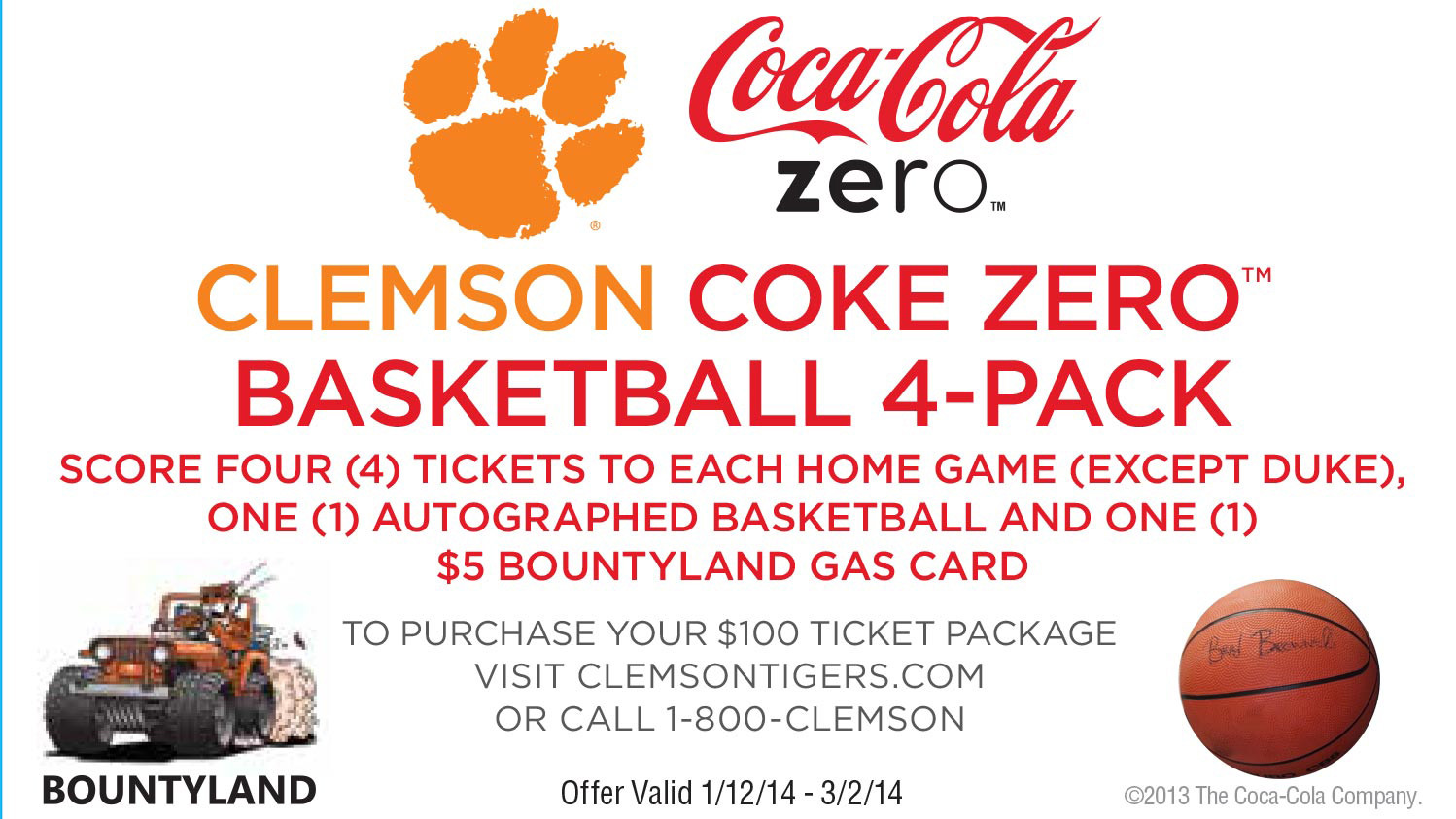 Clemson Athletics and Coke Zero Offer Men's Basketball Ticket Promotion