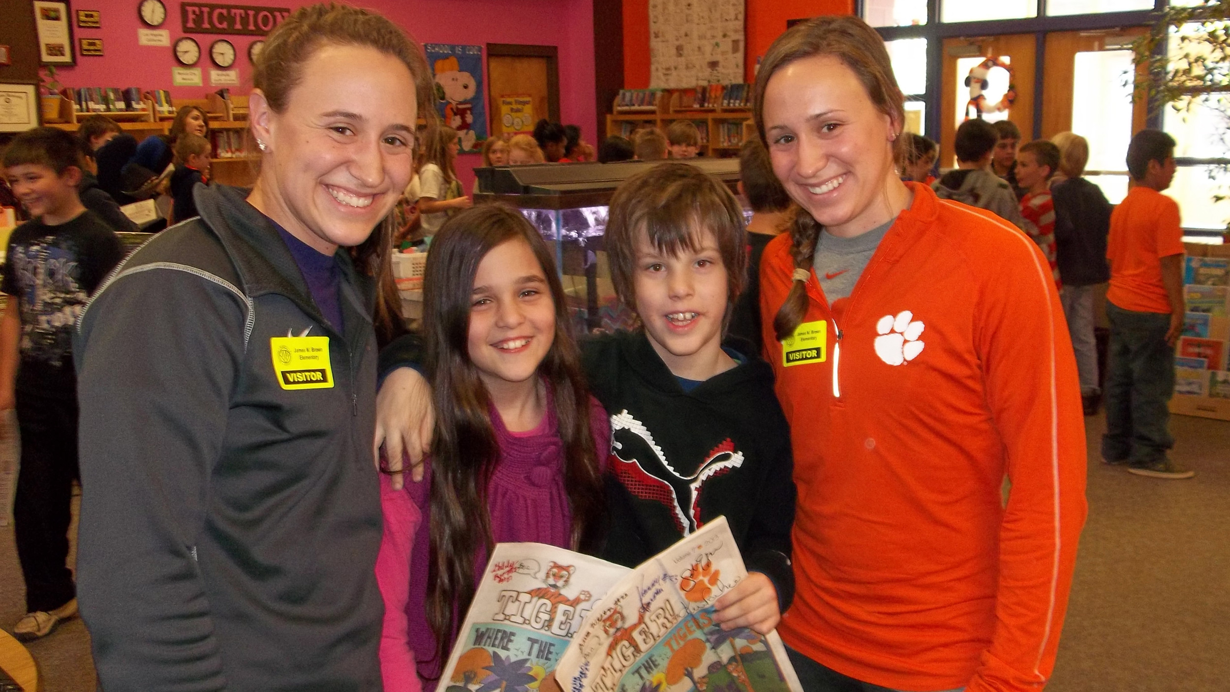 Tiger Women's Soccer Twins Read to James Brown Elementary