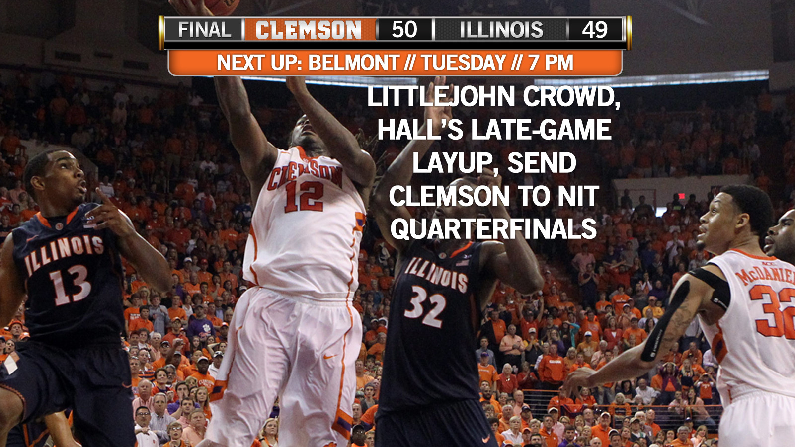 Hall's Game-Winner Lifts Clemson to 50-49 Victory over Illinois Sunday
