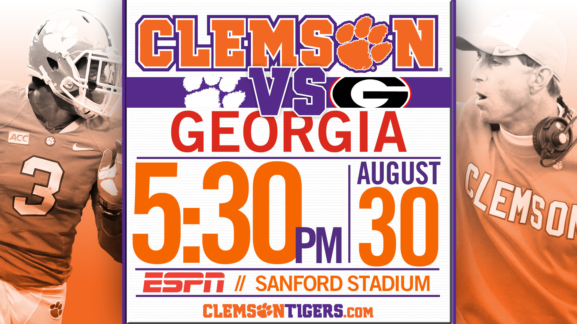 Clemson at Georgia Slated for 5:30 p.m. Start on ESPN