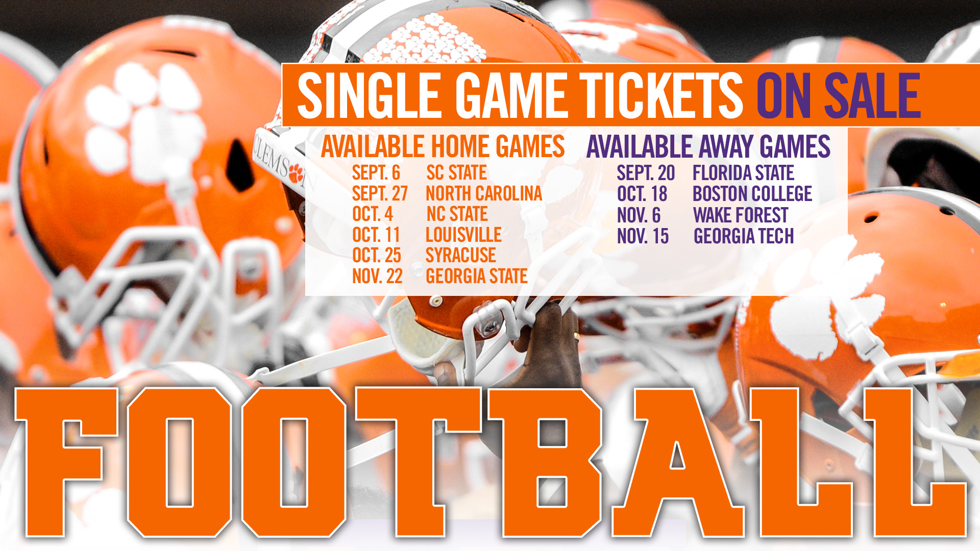 Season Tickets Sold Out; Single Game On Sale Now