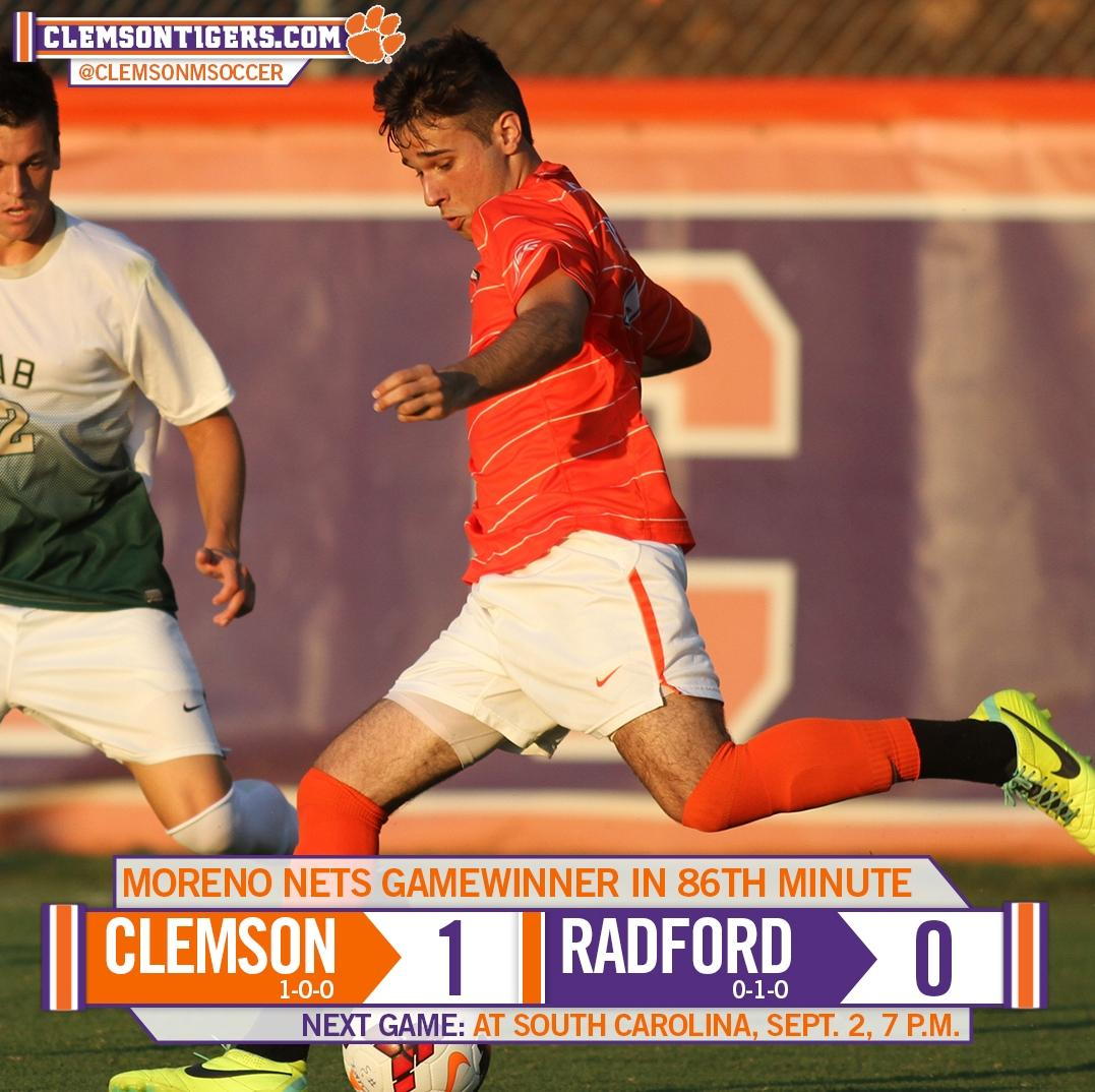 Moreno?s Late Goal Powers Clemson to 1-0 Victory over Radford