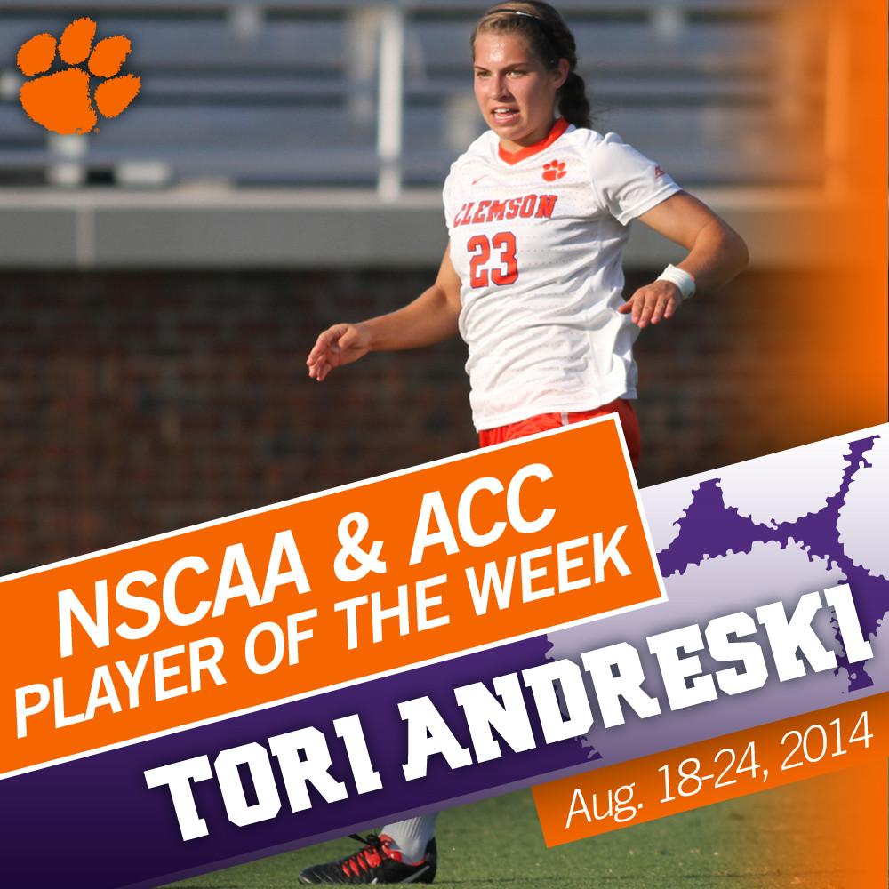 Tori Andreski Named ACC & National Player of the Week