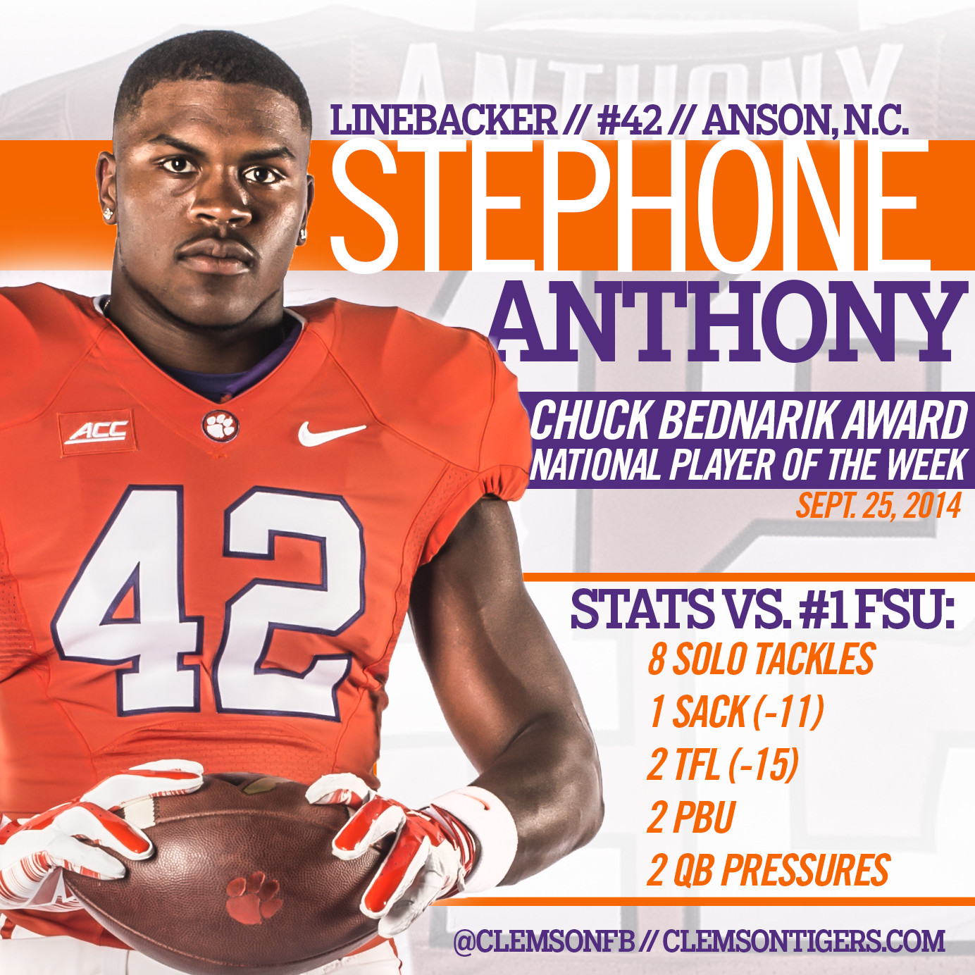 Anthony Earns Weekly Bednarik Award