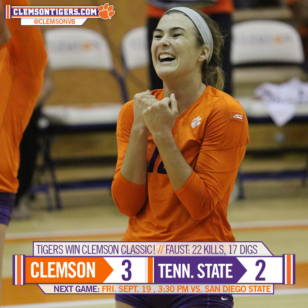 Tigers Top Tennessee State in Five to Win Clemson Classic