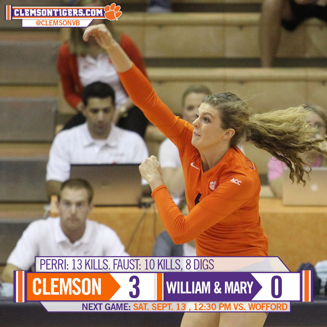 Tigers Open Clemson Classic with 3-0 Win Over William & Mary