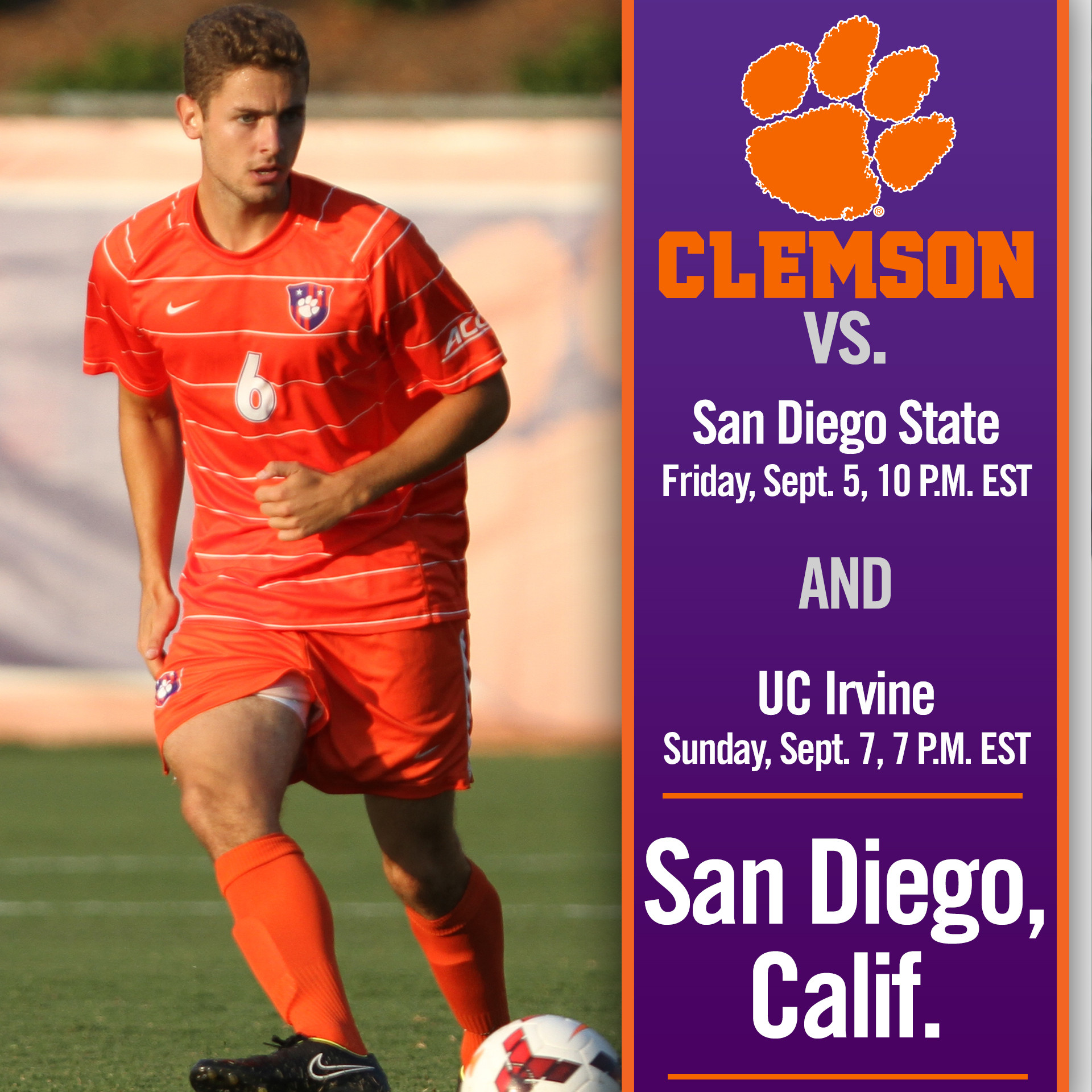 Clemson Travels West to Take on San Diego State, UC Irvine this Weekend