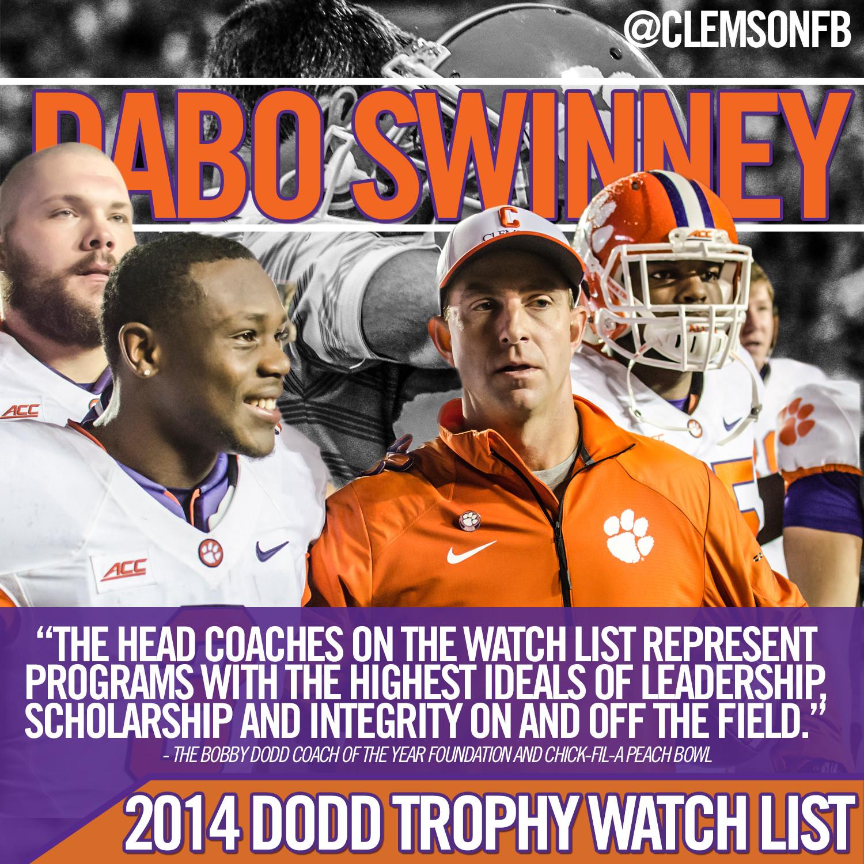 Swinney Candidate for Dodd Trophy