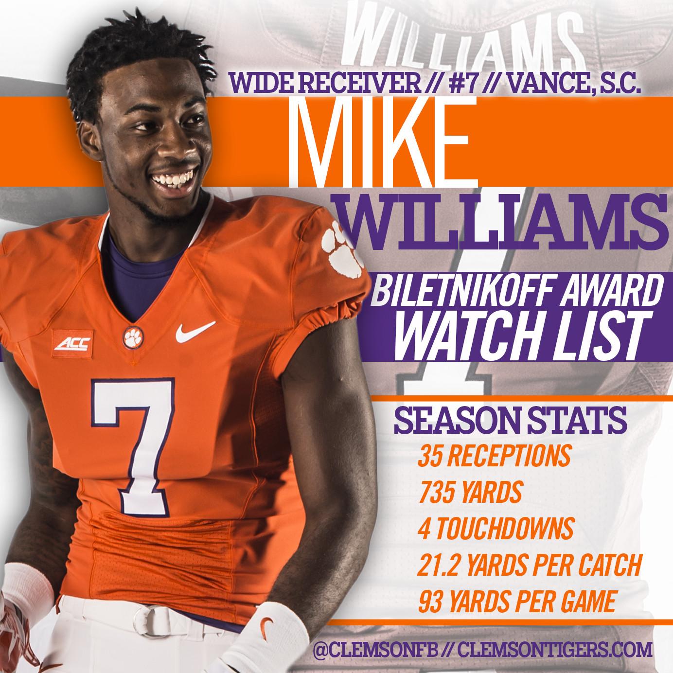 Williams Added to Biletnikoff List