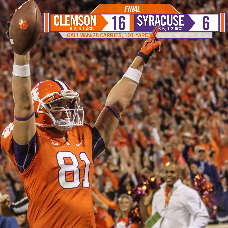 No. 20 Clemson Stuffs Syracuse, 16-6