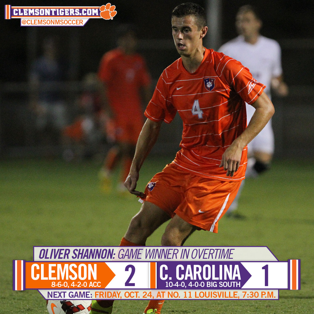 Shannon?s Golden Goal Moves Clemson Past Coastal Carolina 2-1 in Overtime Tuesday Night