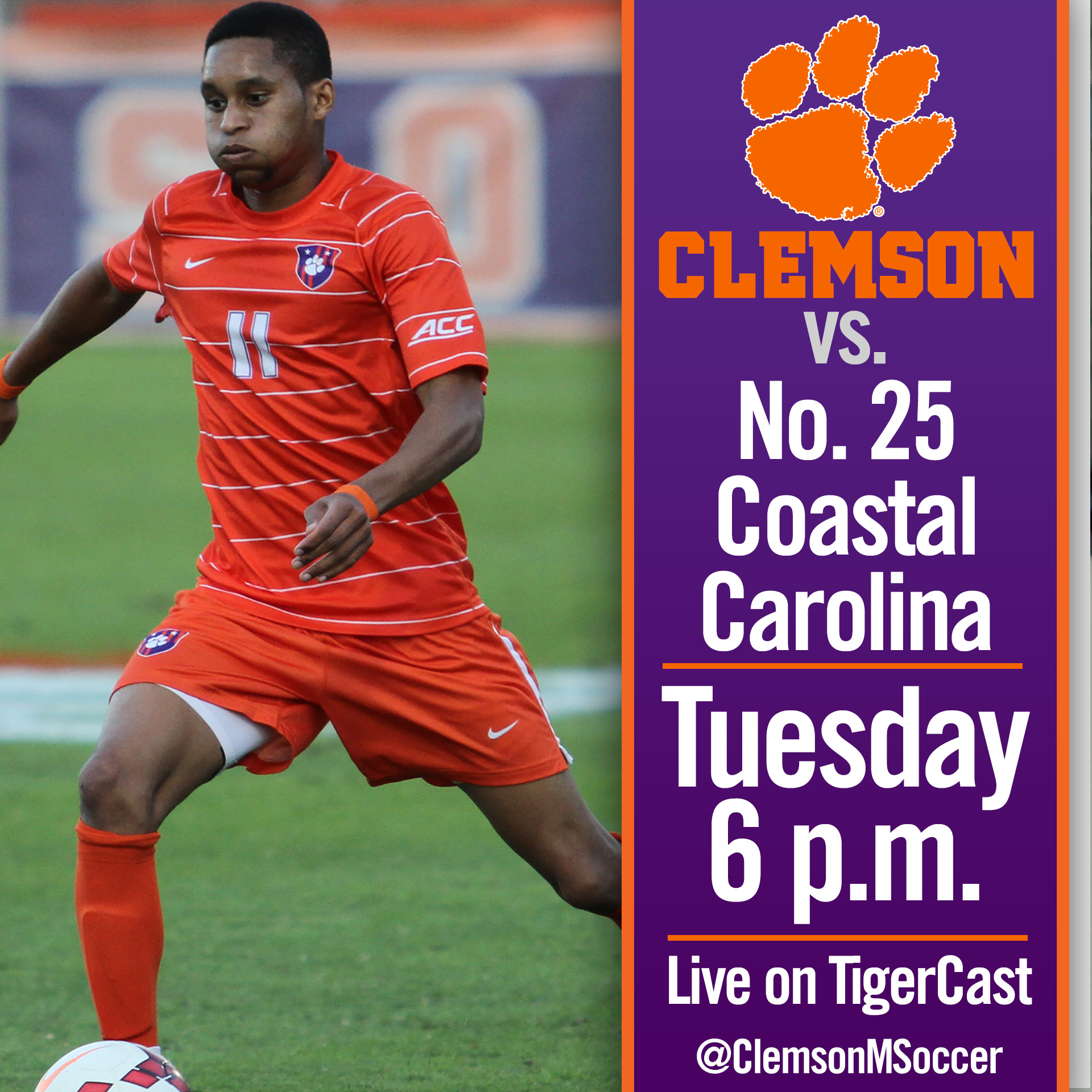 Clemson Hosts No. 25 Coastal Carolina in Rescheduled Match Tuesday