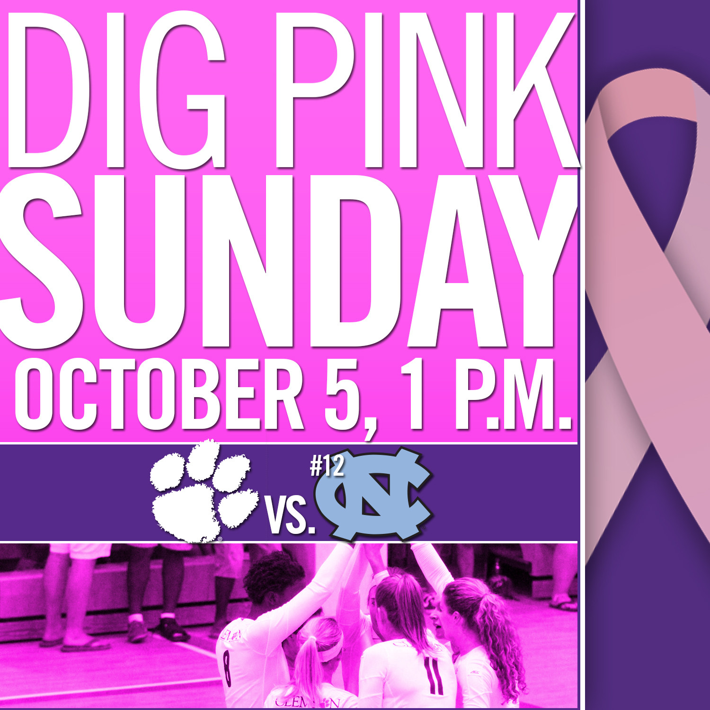 Tigers to Hold Dig Pink Match Sunday vs. North Carolina