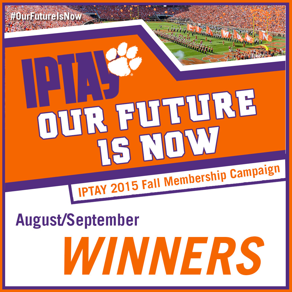 "August/September Winners Announced for IPTAY 2015 Fall Campaign ""Our Future is Now"""