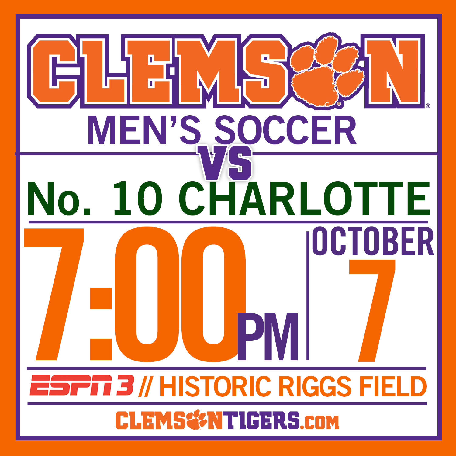 Clemson Hosts No. 10 Charlotte Tuesday