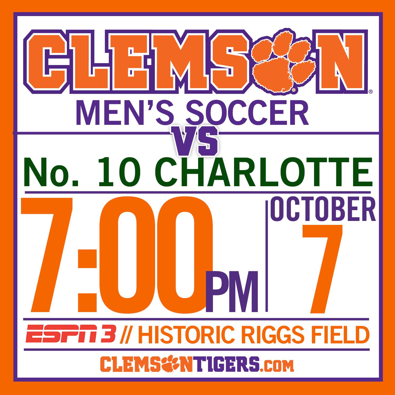 Clemson Hosts No. 10 Charlotte Tuesday